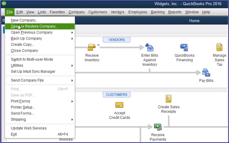 How to Create and Restore a Quickbooks Company file